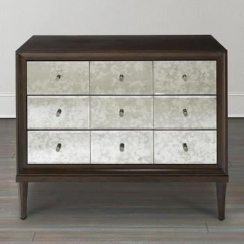 White Hand Painted Mirrored Drawer Accent Chest