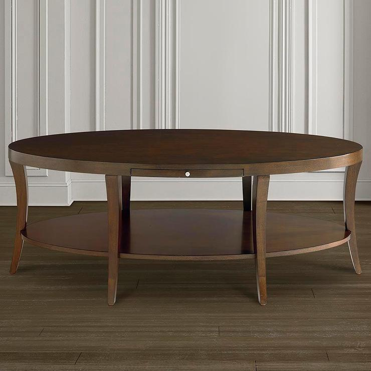 Oval Wooden Coffee Table With Shelf