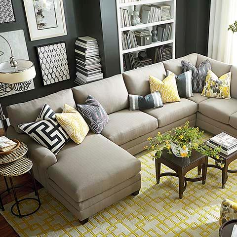 U Shaped Sectional In Taupe
