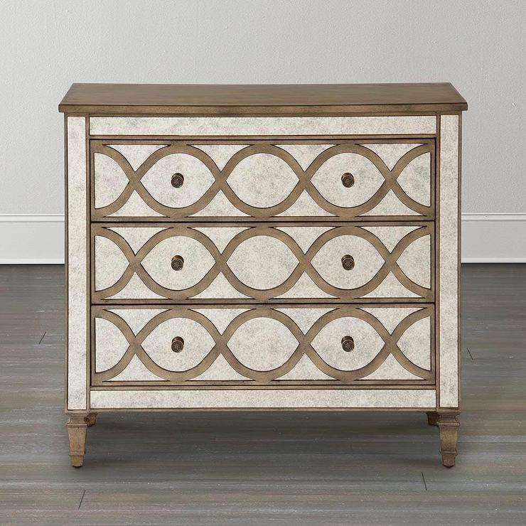 Exceptional Discoveries Mirrored Chest With Overlay In White Wash