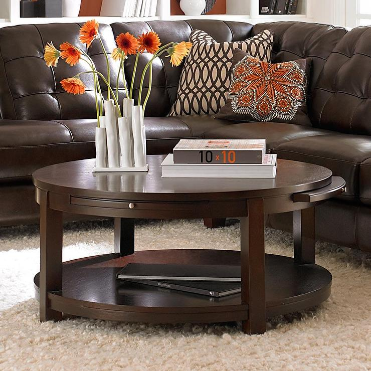 Round Coffee And Cocktail Coffee Table With Shelves In Dark Walnut
