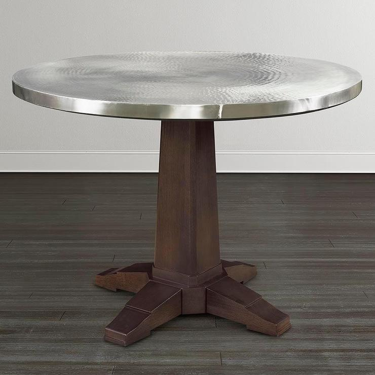 Nice Round Aluminum Pedestal Table In Brown