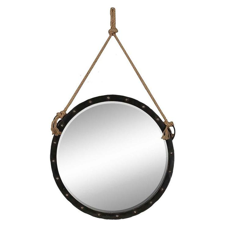 Round wall mirror nautical in black for Hanging mirror