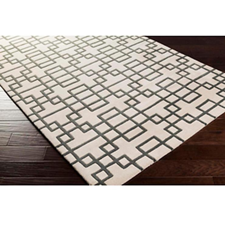 geometric rug pattern. Puzzle Pattern Light Area Rug In White And Grey Geometric