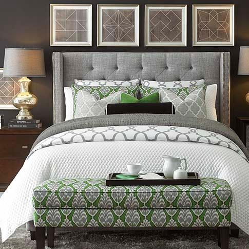 Dublin Upholstered Winged Bed In Gray