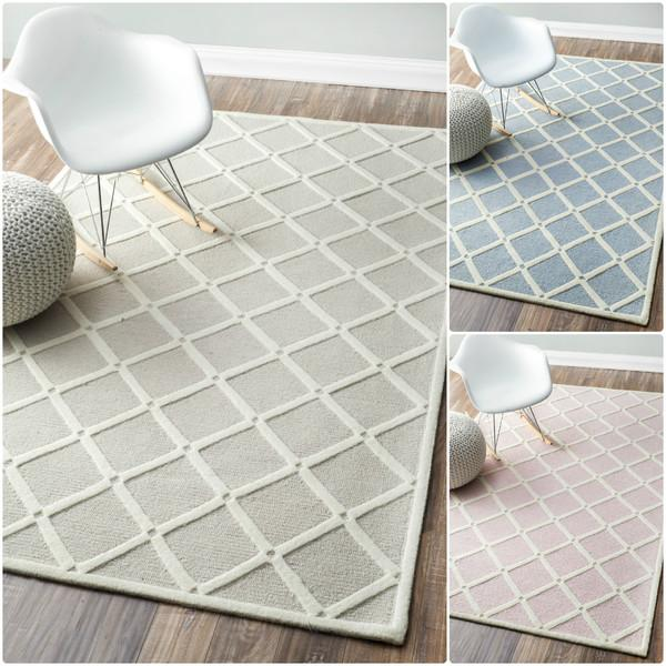 nuLOOM Handmade Abstract Fancy Trellis Wool Rug in Blue and White