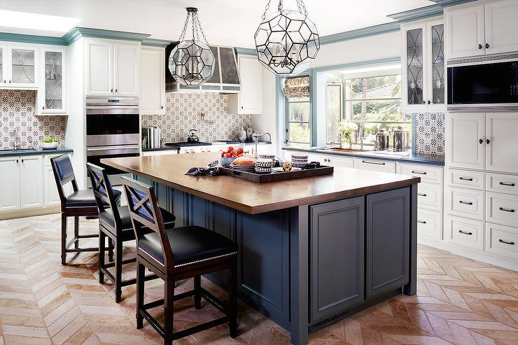 Blue Kitchen Island with Wood Countertop  Transitional  Kitchen