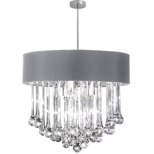 8 light polished chrome chandelier with glass droplets in silver shade dainolite 8 light polished chrome chandelier with glass droplets in silver shade mozeypictures Image collections