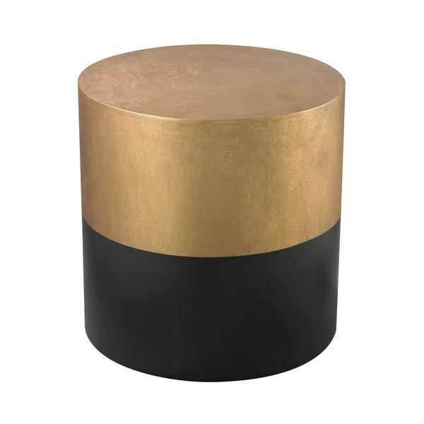 Ls Dimond Home Black And Gold Draper Drum Table In Black And Gold