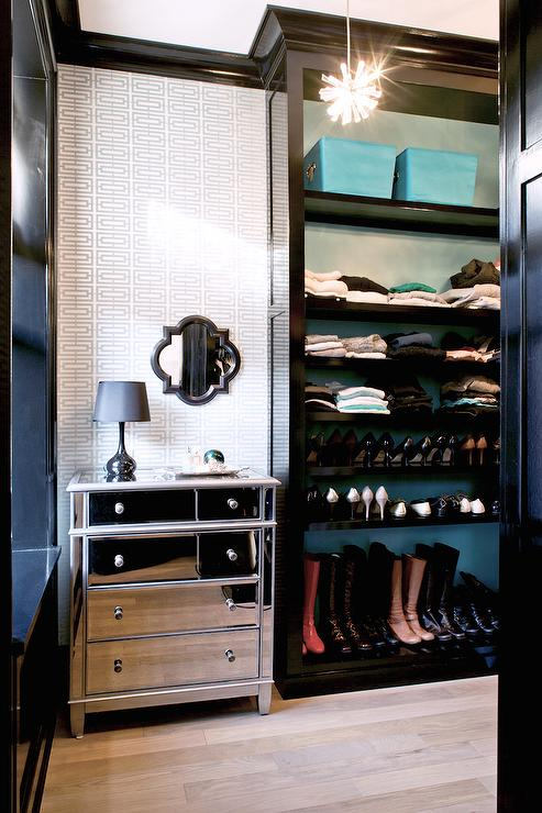 Walk In Closet With Glossy Black Built In Shelves