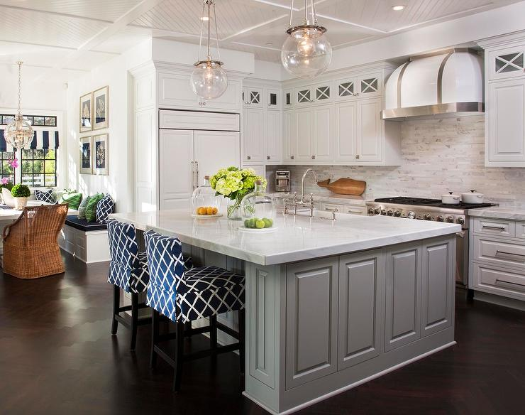 Chic Cottage Kitchen Features A Diagonal Beadboard Ceiling Accented With A  Pair Of Rejuvenation Classic Globe Pendants Illuminating A Gray Paneled  Island ...