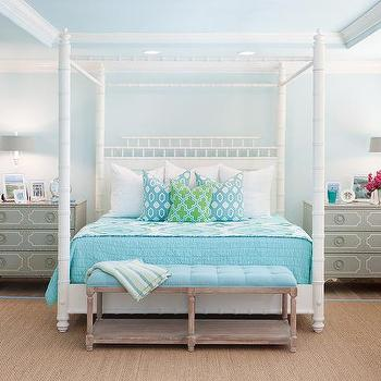 Gold Leaf Canopy Bed With Headboard And Footboard