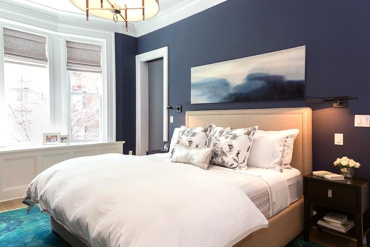 Navy Bedroom Walls with Beige Nailhead Headboard