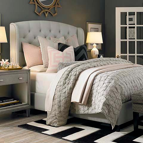 Linen Colored Paris Arched Wing Bed