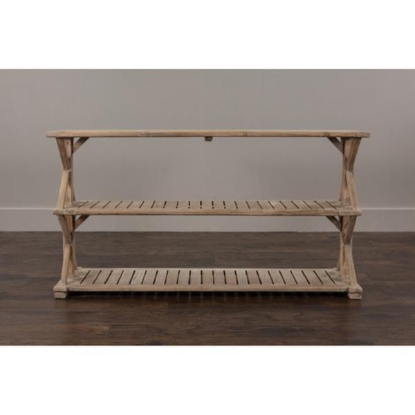 Console Wooden : Decorative Promenade Rustic Wooden Console Table in White Wash