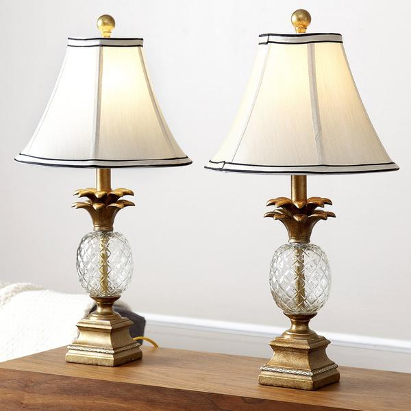 Famous Abbyson Living Alexandra Antiqued Gold Pineapple Table Lamps IZ52