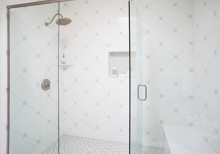 White Diamond Shower Tiles with Square Inlays of Gray Glass Tiles