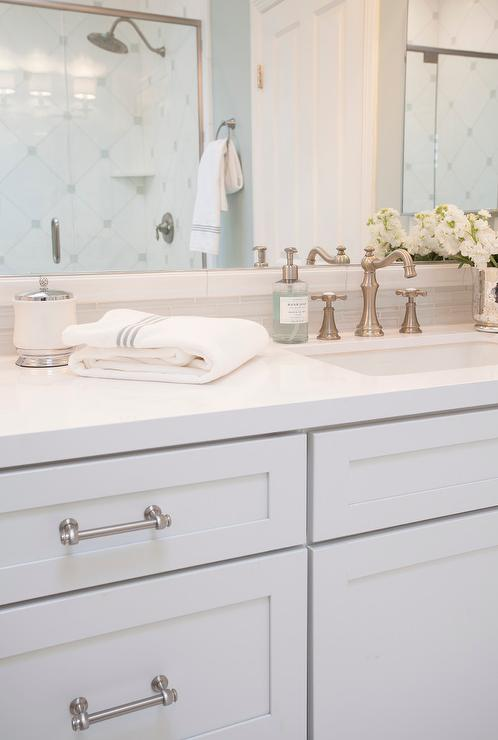 White Shaker Bathroom Vanity. White Shaker Vanity Cabinets With Gray Glass Tile Backsplash