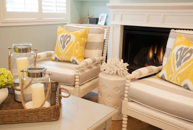 Gray Stripe Accent Chairs With Yellow Ikat Pillows