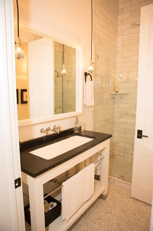 White Washstand With Soapstone Countertop Transitional Bathroom