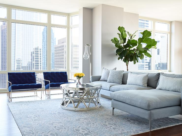 Gray sofa with chaise lounge and blue velvet accent chairs contemporary living room - Grey and blue living room ...