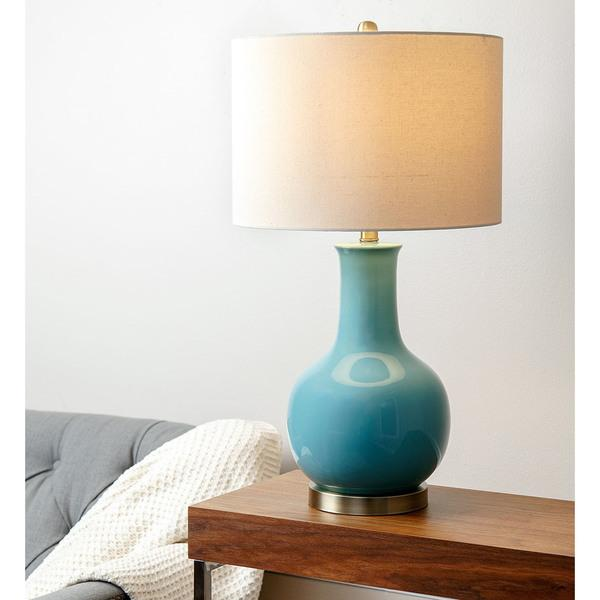 Awesome ABBYSON LIVING Gourd French Blue Ceramic Table Lamp