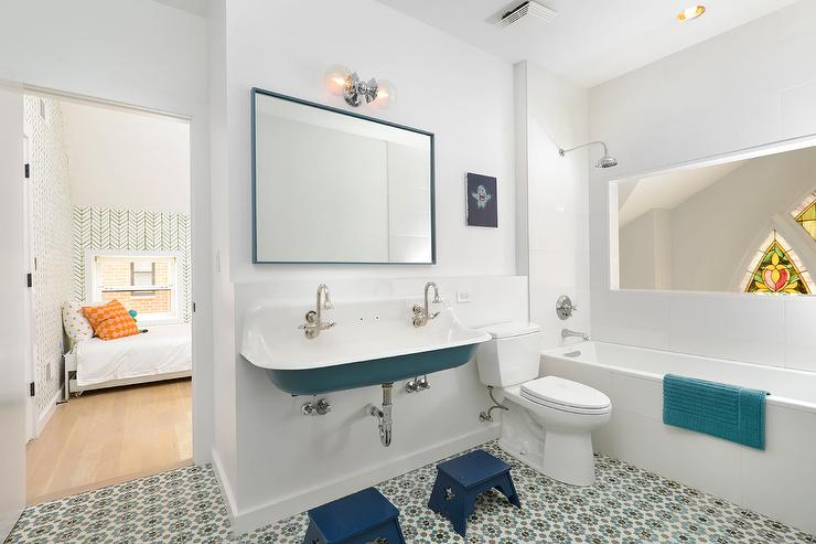 Blue boys bathroom with trough sink contemporary bathroom - Kids bathroom design ...
