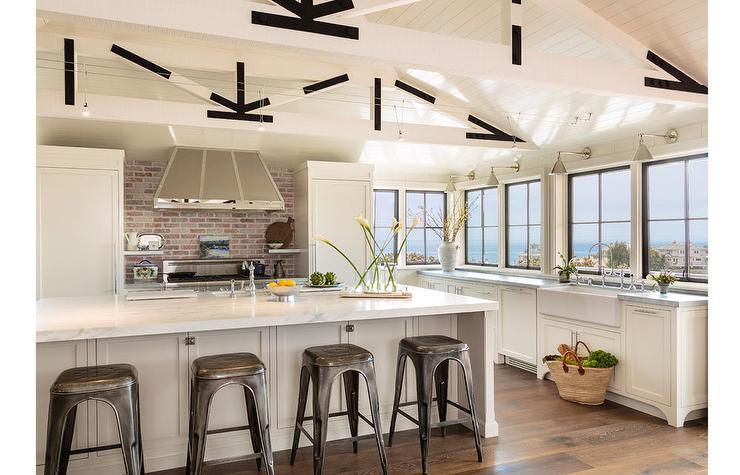 Cottage Kitchen With White Truss Ceiling Cottage Kitchen