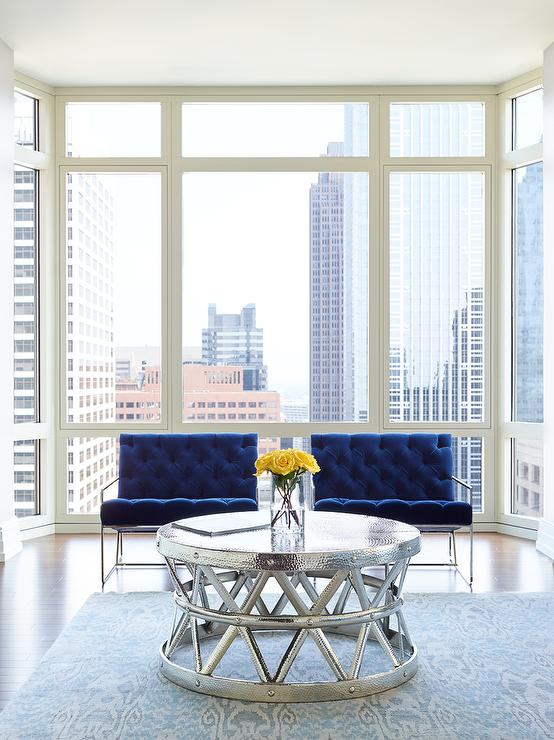 Dark Blue Velvet Tufted Accent Chairs With Arteriors Costello Cocktail Table