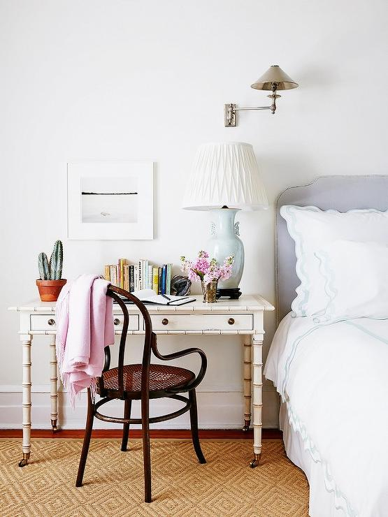 White Faux Bamboo Desk As Nightstand