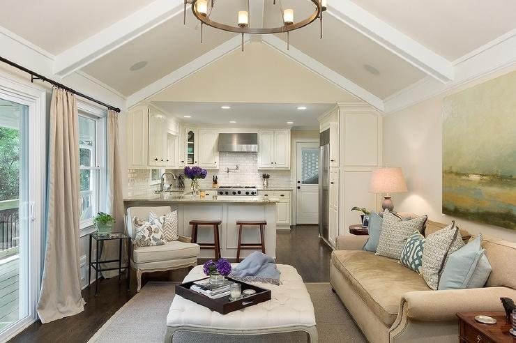 Delightful Living Room Cathedral Ceiling With White Wood Beams View Full Size Part 25