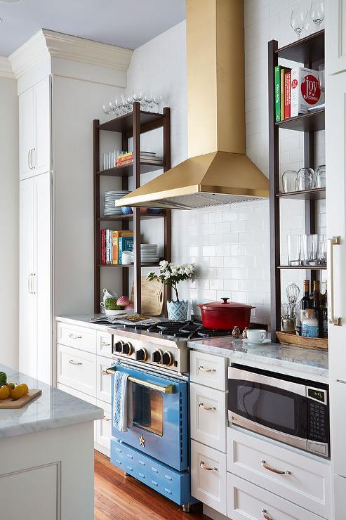 Gold Kitchen Hood With Bluestar Range Contemporary Kitchen