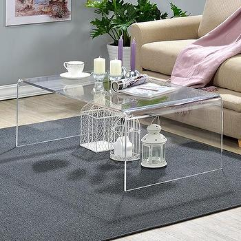 crystalline clear acrylic coffee table