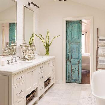 Exceptionnel Distressed Turquoise Bathroom Door