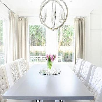 Gray Pedestal Dining Table With White Tufted Chairs View Full Size Chic Room