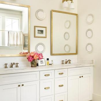 Beau White And Gold Bathroom With Brass Rivet Medicine Cabinets