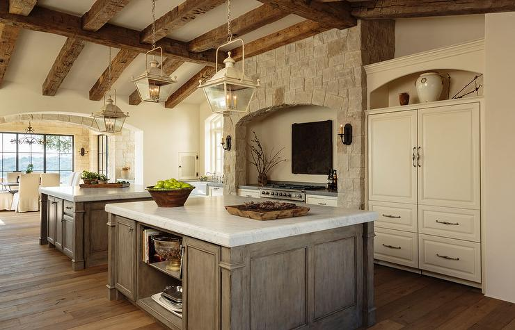 Mediterranean Kitchen with Rustic Wood Ceiling Beams ...
