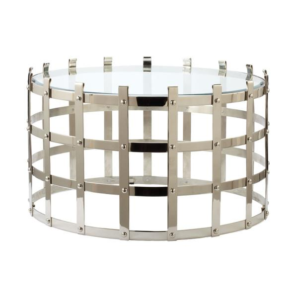 LS Dimond Home Metal Strap Coffee Table In Silver
