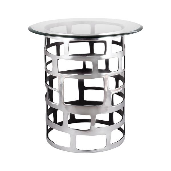 LS Dimond Home Organic Cutouts Side Table In Silver