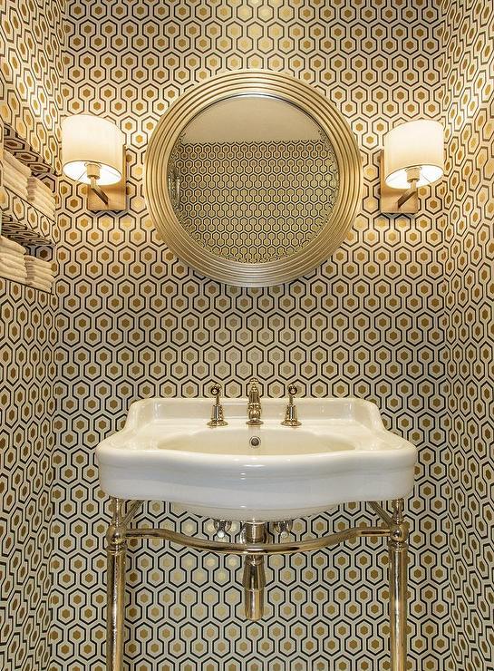 Contemporary Powder Room With Hicks Hexagon Wallpaper Contemporary Bathroom