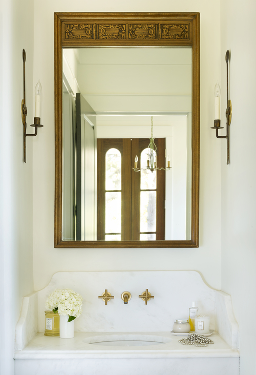 Marble Powder Room Sink With Brass Faucet Cottage Bathroom