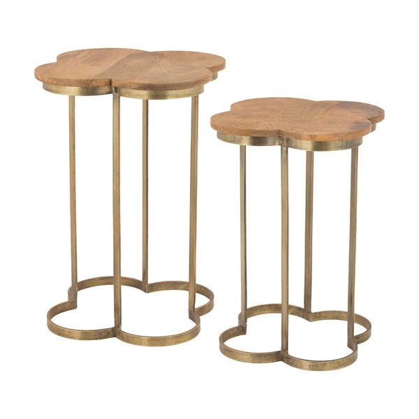 LS Dimond Home Gold Leaf Quatrefoil Accent Table In Gold And Wood