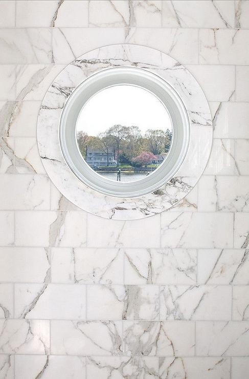 Marble Shower With Porthole Window Transitional Bathroom