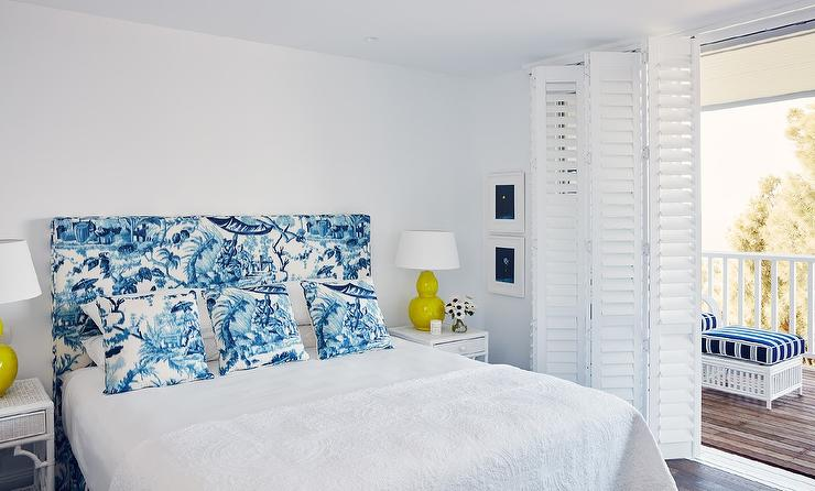 Blue And White Toile Bedroom: Yellow And Blue Bedroom With Toile Headboard