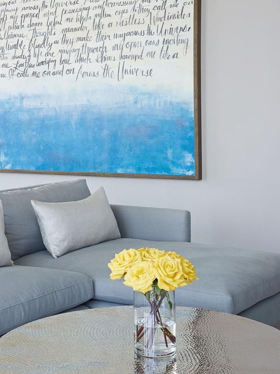Gray Linen Sofa with Chaise Lounge and Wedding Song Lyrics Art ...