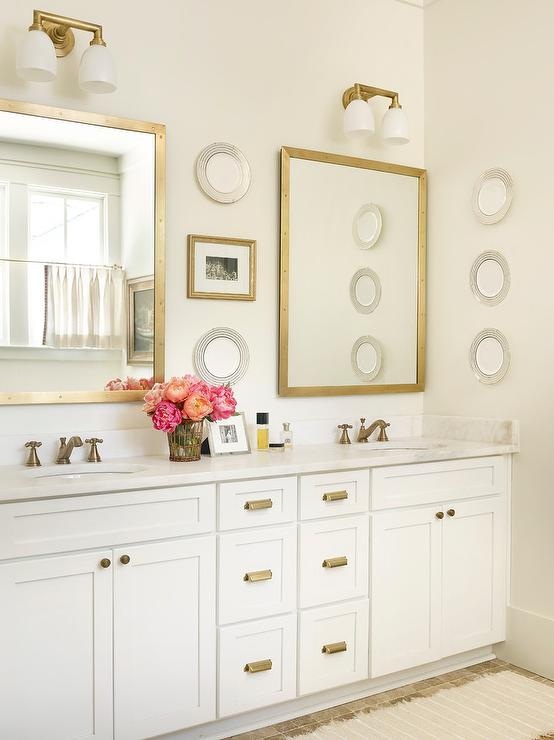 White And Gold Bathroom With Brass Rivet Medicine Cabinets Transitional Bathroom