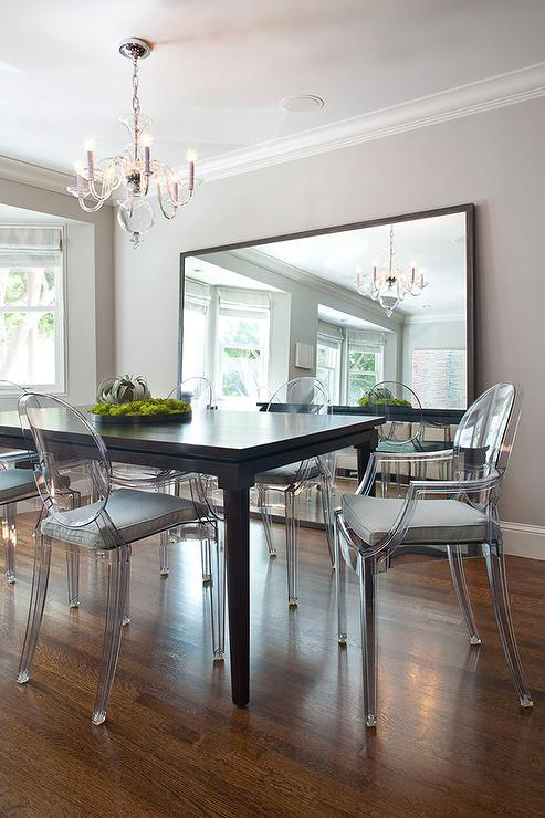 Gray Dining Room With Gray Ghost Chairs Contemporary
