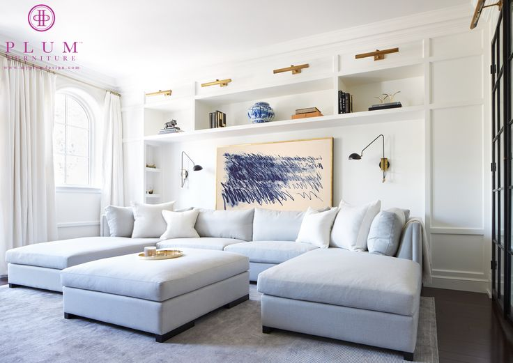 Gray Blue Sectional With Two Chaise Lounges