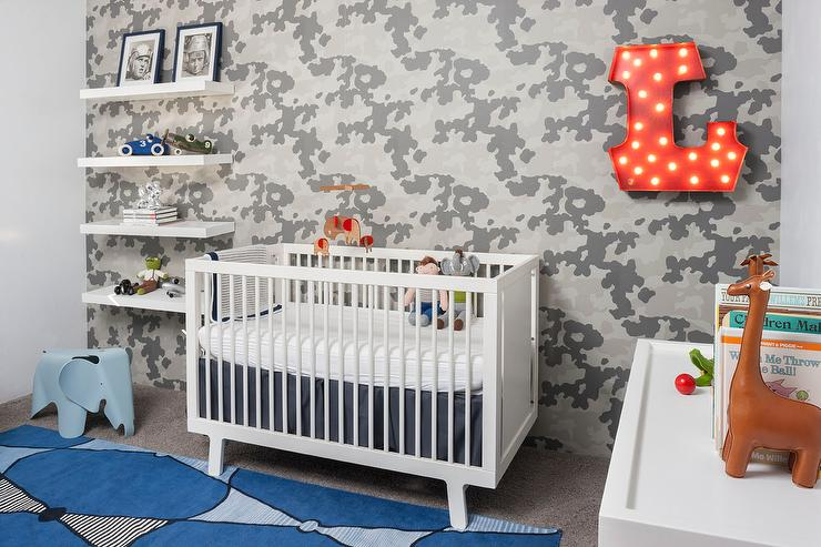 Boy Nursery With Camouflage Wallpaper Contemporary Nursery