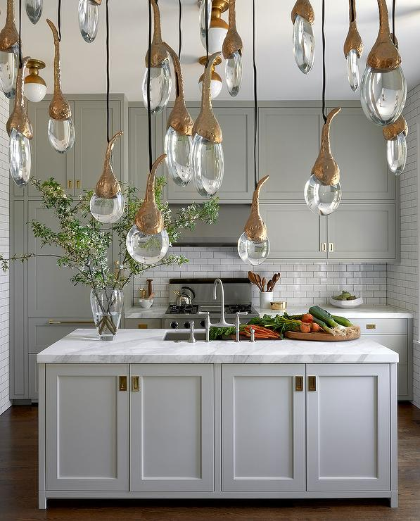 Gray Kitchen With White And Gold Flush Mount Lighting